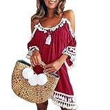 Kleid Kolylong Damen Elegant Trägerloses Quaste Kurzarm Kleid Retro Schulterfrei Rückenfrei Kleider Kurz Boho Kleid T- Shirt Kleid Mini Sommerkleid Strandkleid Party Abendkleid (S, Rot)