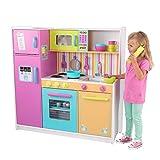 KidKraft 53100 Cuisine enfant en bois Deluxe Big and Bright, jeu d'imitation incluant accessoires et téléphone