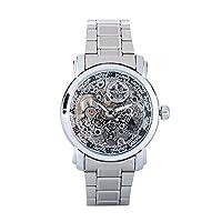 aueuaメンズ腕時計スケルトンフルスチールAuto Mechanical Watchesビジネス腕時計シルバー