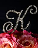 Unik Occasions Victorian Crystal Rhinestone Wedding Cake Topper, Small, Letter K, Gold
