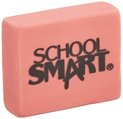 School Smart Latex Free Block Eraser - 1 1/8 In x 15/16 In x 3/8 In - Box of 60- Pink - 000786