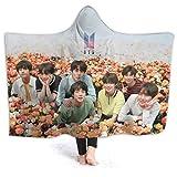 "Kpop BTS Bangtan Boys Hooded Blanket Throw 3d Printing Poster Blanket For All Seasons Micro Fleece Blanket Lightweight Warm Wearable Blanket Cape Cloak Hoodie For Women And Men 50""x40' 60'x50' 80'x60'"