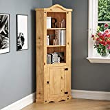 Vida Designs Corona 1 Door Corner Bookcase Display Unit Solid Pine Wood Distressed Waxed Finish