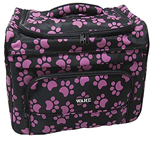 Wahl Professional Animal Travel Tote Bag with Zipper, Berry Paw Print Design (#97764-400), 9 Inches -Berry