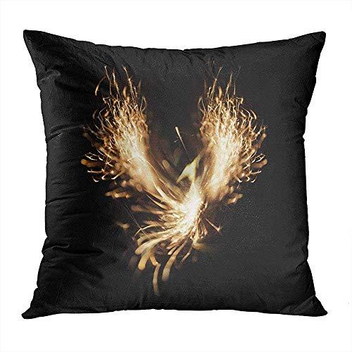 Fodera per cuscino per cuscino quadrato 45x45 cm (18 pollici) Uccello che brucia in aumento arancione Phoenix Red Antico cuscino per fiamma di fuoco Cuscino per divano a casa Decor Cerniera nascosta Federa in poliestere