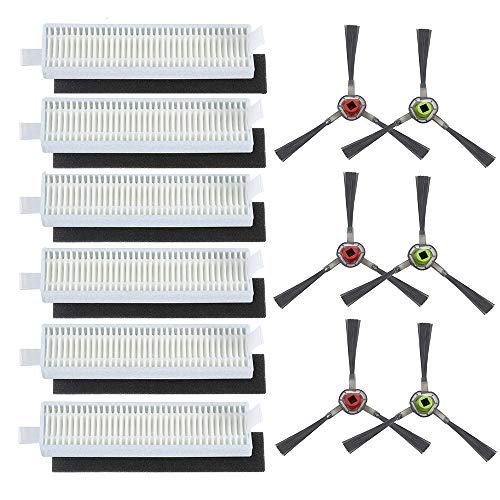 HKCH Hocheffizienter Filter und Schwamm-Filter, Seitenbürsten-Set, für ECOVACS DEEBOT Slim DA60 SLIM2 DA5G Slim NEO Saugroboter, insgesamt 18 Stück (Filter + Seitenbürste)