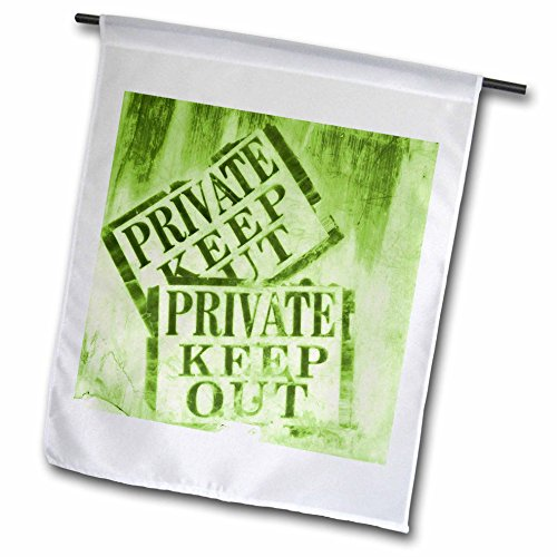 3dRose FL_124739_1 Green Private Keep Out Sign Photograph Garden Flag, 12 by 18-Inch