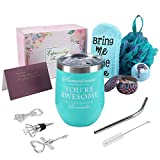 Wine Gifts for Women, Funny Birthday Gift, Wine Gift Basket, Wine Tumbler with Saying for Friend Coworker - 12oz Wine Tumbler with Lid, Straw, Opener/Stopper, Bath Bomb, Loofah, Greeting Card