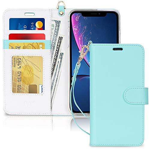 FYY Cover iPhone XR,Custodia iPhone XR 6.1', [Funzione Supporto] Flip Custodia Portafoglio in Pelle PU Premium con Chiusura Magnetica e Slot per Schede per iPhone XR 6.1' 2018-Peppermint