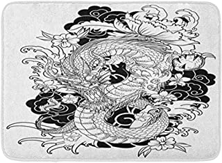 SZZWY Red Japan Dragon Tattoo Coloring Book Japanese Asian Painting Wave Background Pattern Flannel Bath Rugs Prevent Shifting Super Absorbent 3D Printing 60x40cm