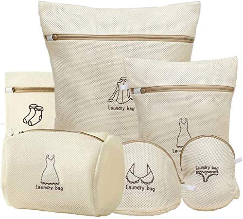 YueChen 6 bolsas de malla para la colada, bolsas de lavado a máquina, reutilizables y duraderas de malla para ropa delicada, calcetines, ropa interior, sujetador, ropa interior y ropa de bebé