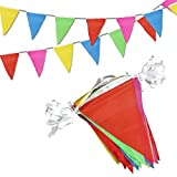 Novelty Place 100 Feet Pennant Banner - 75 Multicolor Bunting Flags - Birthday Party Grand Opening Christmas Decorations