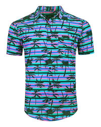 ALTOGUSTO Men's Hawaiian Short Sleeve Printed Shirt Button Down Casual Shirts for Men Palm Tree Printed Beach Hawaiian Aloha Shirt-M