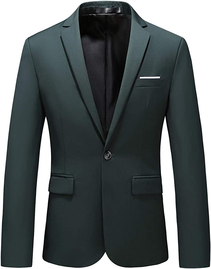 UNINUKOO Mens Casual Slim Fit 2 Piece Single Breasted Jacket Party Prom Tuxedo Suits