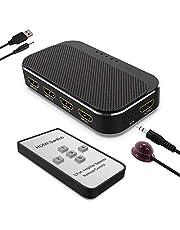 HDMI Switch 4K,ABLEWE Conmutador HDMI Switcher 5 in 1 out Supporta 4K@30Hz per Xbox/TV Stick /PS4/ HDTV/BLU-Ray/DVD con Control Remoto IR