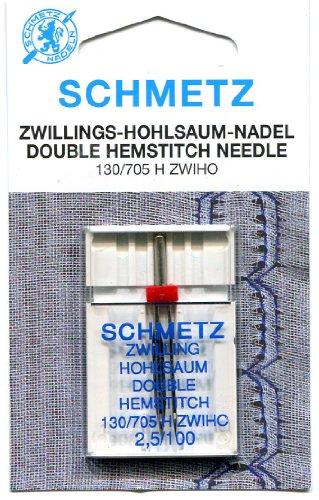 Schmetz Agujas de Hemstitch de doble tamaño 100–2,5mm Gap