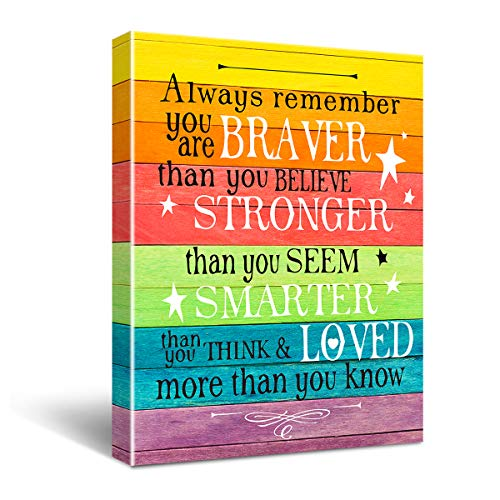yuzi-n Always Remember You are Braver Than You Believe Canvas Wall Art, Inspirational Gifts Canvas Wall Art Quotes for Kids Girl Sister mom Women, Living Room Bedroom Office Teen Boy Girl Room Decor