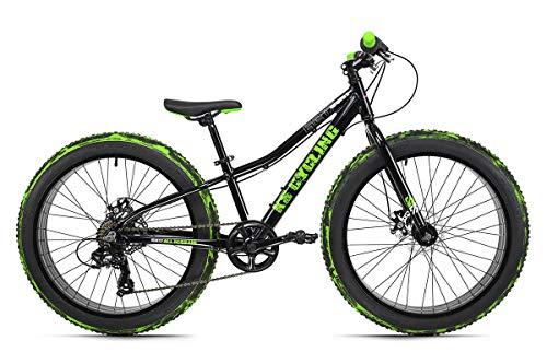 KS Cycling Jugendfahrrad Fatbike 24'' Crusher Aluminiumrahmen schwarz-grün RH 30 cm