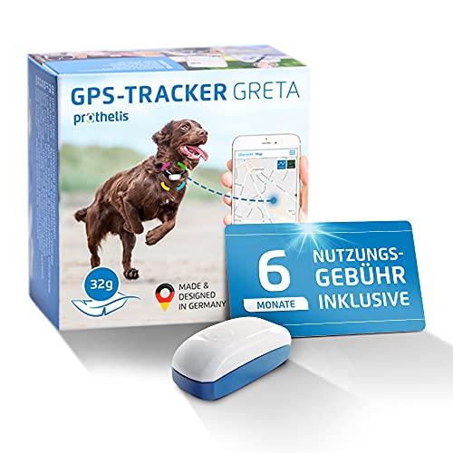Prothelis Greta Hunde GPS Tracker Mini Peilsender mit App inklusive 6 Monate Nutzungsgebühr | Tracking GPS für Hunde mit Akku Laufzeit bis 5 Tage 32g leicht wasserdicht | GPS Tracker Hund klein