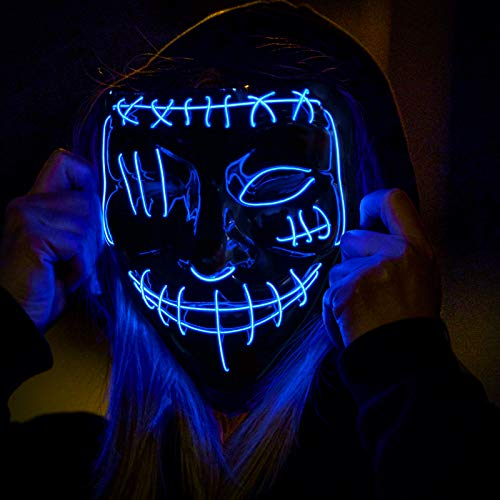 LED Mask, The Purge Mask Light up Mask for Halloween Party Festival Costume Cosplay, Upgrade EL Wire Neon Scary Mask Halloween, Glowing in the Dark Mask 3 Modes LED Light Up Halloween Purge Masks Blue