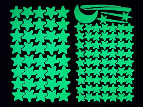 Wunderschöner Sternenhimmel zum Kleben mit über 100 selbstklebenden, fluoreszierenden Leucht-Sternen mit starker Leuchtkraft. Wandtattoo/Wanddeko für Babyzimmer, Kinderzimmer, Schlafzimmer. #22