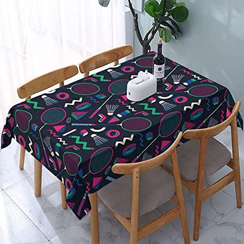 XIANGYANG Retro Badmintonschläger Rechteck Tischdecke 54 X 72 Wasserdicht Waschbar Wiederverwendbare Tischdecke für Esszimmer Küche Picknick Wohnkultur