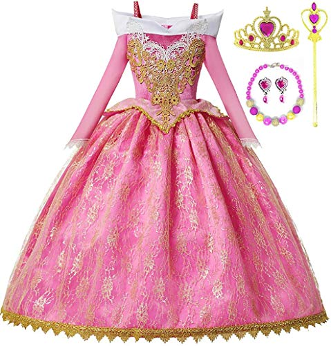 Romy's Collection Princess Pink Sleeping Beauty Embroidered Costume Party Dress-up Set (3-4, Pink)