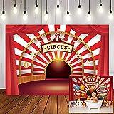 Fondos fotográficos Fotografía de Fondo de Circo, Lona a Rayas, Carpa roja, decoración de Fiesta de cumpleaños para niños, Fondo para Foto de estudio-5x3FT