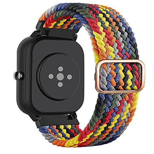 DEOU 20mm Correa Compatible con Amazfit Bip Amazfit GTS/GTS 2,Ajustable Trenzada Elástica con Hebilla Pulseras de Repuesto para Xiaomi Huami Amazfit Bip Lite Amazfit GTR 42mm Watch(Vistoso)