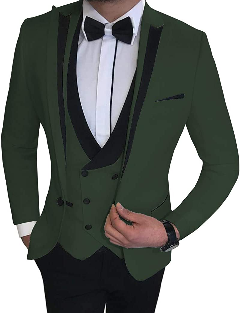 ToonySume Men's Business Suits 3 Pieces Slim Fit Shawl Lapel Solid Prom Tuxedos ForWedding Grooms(Custom,Hunt Green)