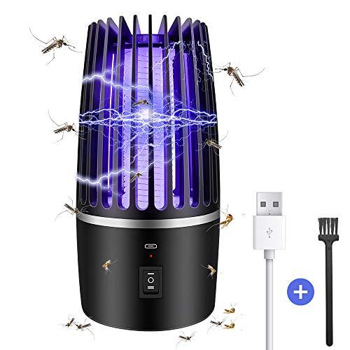 Insektenvernichter Elektrisch, 2-In-1 Mückenlampe Campinglampe mit USB Wiederaufladbarer Akku , Drinnen draußen Mückenkiller Campinglaterne, Gegen Mücken Mückenfalle Nanometer UV-Licht Insektenabwehr
