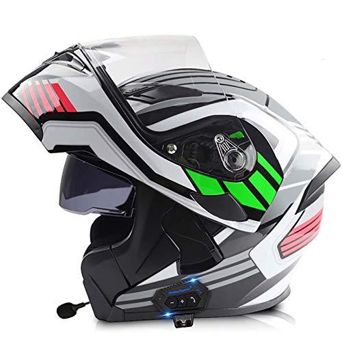 ACEMIC Casco Modular para Motocicleta, Casco Integral abatible con Bluetooth Integrado, Aprobado por Dot/ECE, Ligero, antivaho, de Doble Visera, para Motocicleta, Casco de Carreras Chopper Cruise