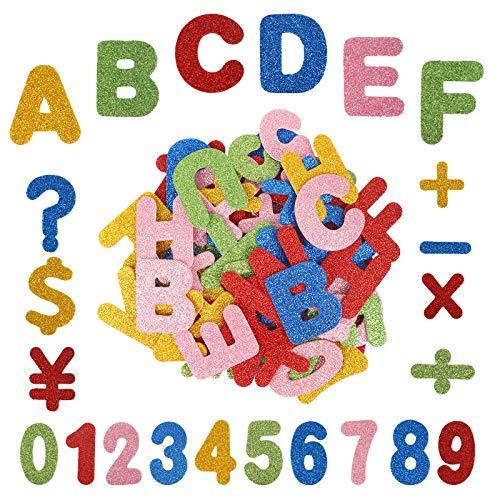 KATOOM 142STK Moosgummi Buchstaben Aufkleber Set Glitter Schaumstoff Sticker Selbstklebend Zahlen Klebebuchstaben Alphabet Glitter zum Basteln für Schultüte Deko DIY Handwerk