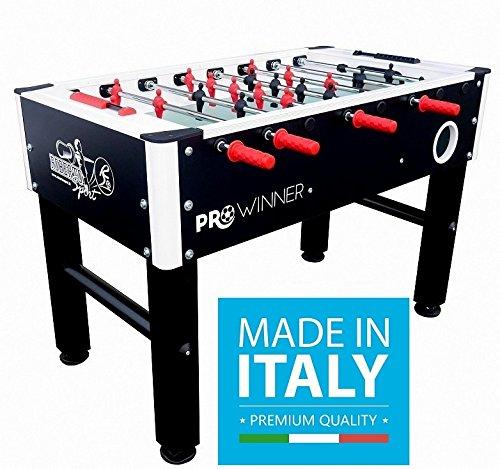 Roberto Sport Calciobalilla Professionale PRO Winner 2.0 Nero Aste Rientranti da Interno con Palline & Spray Lubrificante - New Model
