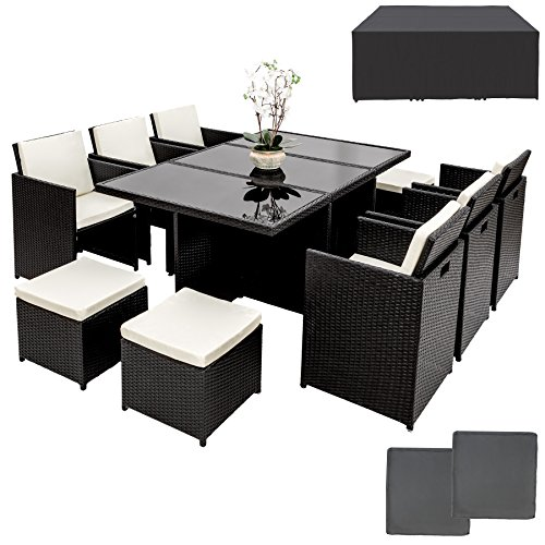 TecTake Ensemble Salon de jardin en Résine Tressée Poly Rotin Aluminium Table Set 6+1+4 avec deux set de housses + housse de protection, vis en acier inoxydable - diverses couleurs au choix - (Noir)