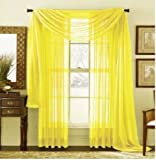 MONAGIFTS BRIGHT YELLOW Scarf Voile Window Panel Solid sheer valance curtains 216' LONG