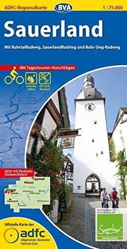 ADFC-Regionalkarte Sauerland mit Tagestouren-Vorschlägen, 1:75.000, reiß- und wetterfest, GPS-Tracks Download: Mit RuhrtalRadweg, SauerlandRadring und Ruhr-Sieg-Radweg (ADFC-Regionalkarte 1:75000)