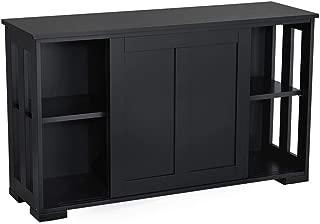 Topeakmart Black Kitchen Storage Sideboard, Stackable Buffet Storage Cabinet with Adjustable Shelf Inside Sliding Door for Home Kitchen