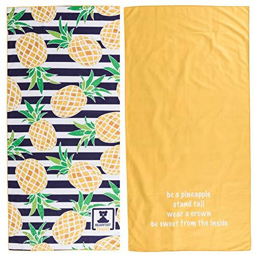BEARFOOT Mikrofaser Handtuch mit Tasche | schnelltrocknende Handtücher - Microfaser Saunatuch, XXL Strandtuch, Badetuch groß, Reisehandtuch | Reise, Strand, Sauna (Ananas 160x80)