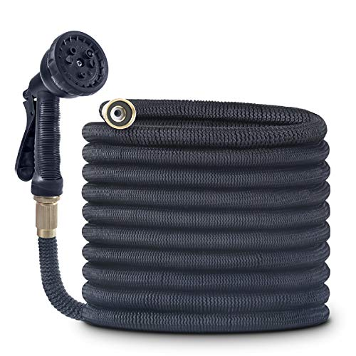 """OWSOO Garden Hose, 75 FT Water Hose with 3/4"""" Solid Brass Fittings, Durable Flexible Garden Hose with Double Latex Core, 8 Functions Sprayer, Extra Strength Fabric, Expandable Hose for Gardening"""