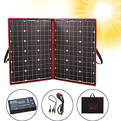 DOKIO 100 Watts 12 Volts Monocrystalline Foldable Solar Panel with Charge Controller with Dual USB Outputs (LIGHTWEIGHT 6lb) for Camping