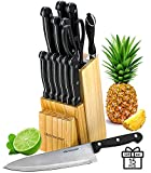 Knife Set With Wooden Block - 15 Piece Set Includes Chef Knife, Bread Knife, Carving Knife, Utility Knife, Paring Knife, Steak Knife, Boning Knife, Scissors And Knife Sharpener. - By Kitch N' Wares