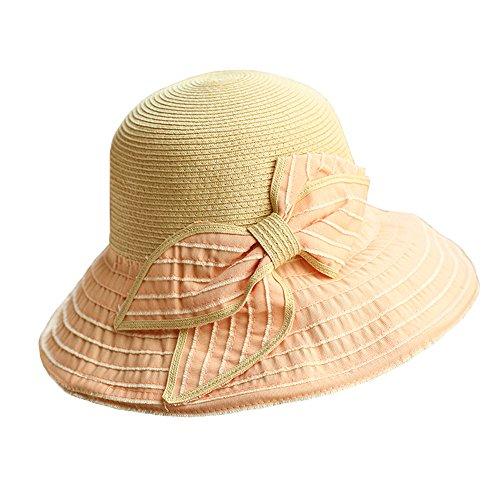 Donne Moda Estate Esterno Spiaggia Decorazione Bowknot Ampia Tesa Pieghevole Paglia Cappello Da Sole Cappello Da Pescatore,Rosa