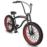 "Micargi SLUGO SS Shimano 7-Speed Fat Tire Cruiser Bike for Mens, DISC Brake, 26x4"" Wide Knobby Tires, Hi-Ten Steel Frame, City Country Beach Bicycle (26' - Matte Black/RED)"