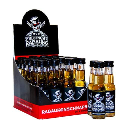 Kleiner Rabauke Premium Schnaps | Likör 1 Box 20x0,02l Alkohol | verfeinert mit Jamaica Rum | Made in Germany | Shots Gläser - Flaschen als Geschenk und für Longdrinks & Cocktails
