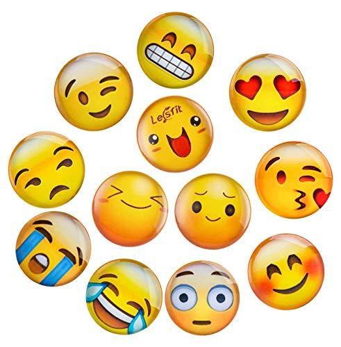 Lesfit 12 Stücke Emoji Magnete Kühlschrankmagnete Magnete Kinder 3D Witzig für Kühlschrank Whiteboard Magnettafel