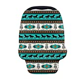 Buybai Aztec Horse Baby Car Seat Cover for Baby Boys and Girls,Multiuse - Nursing Breastfeeding Covers,Shopping Cart/High Chair/Stroller Covers,Infinity Scarf,Car Seat Canopies