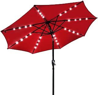 YesHom 9' Outdoor Solar Powered LED Umbrella 8 Ribs w/ 32 Lights Patio Garden Market Umbrella Tilt and Crank UV30 Red