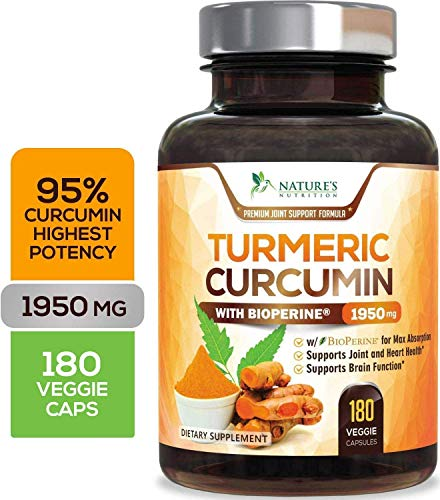 Turmeric Curcumin with BioPerine 95% Curcuminoids 1950mg with Black Pepper for Best Absorption, Made in USA, Most Powerful Joint Support, Turmeric Supplement Pills by Natures Nutrition - 180 Capsules