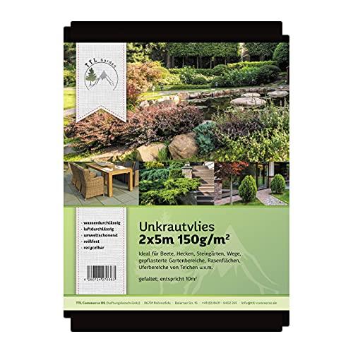 TTL Garden Unkrautvlies 150g/m2 (2m x 5m = 10m2) speziell gegen Unkraut - Markenqualität aus Bayern - Unkrautvlies, Unkrautfolie, wasserdurchlässig, UV stabil & reißfest